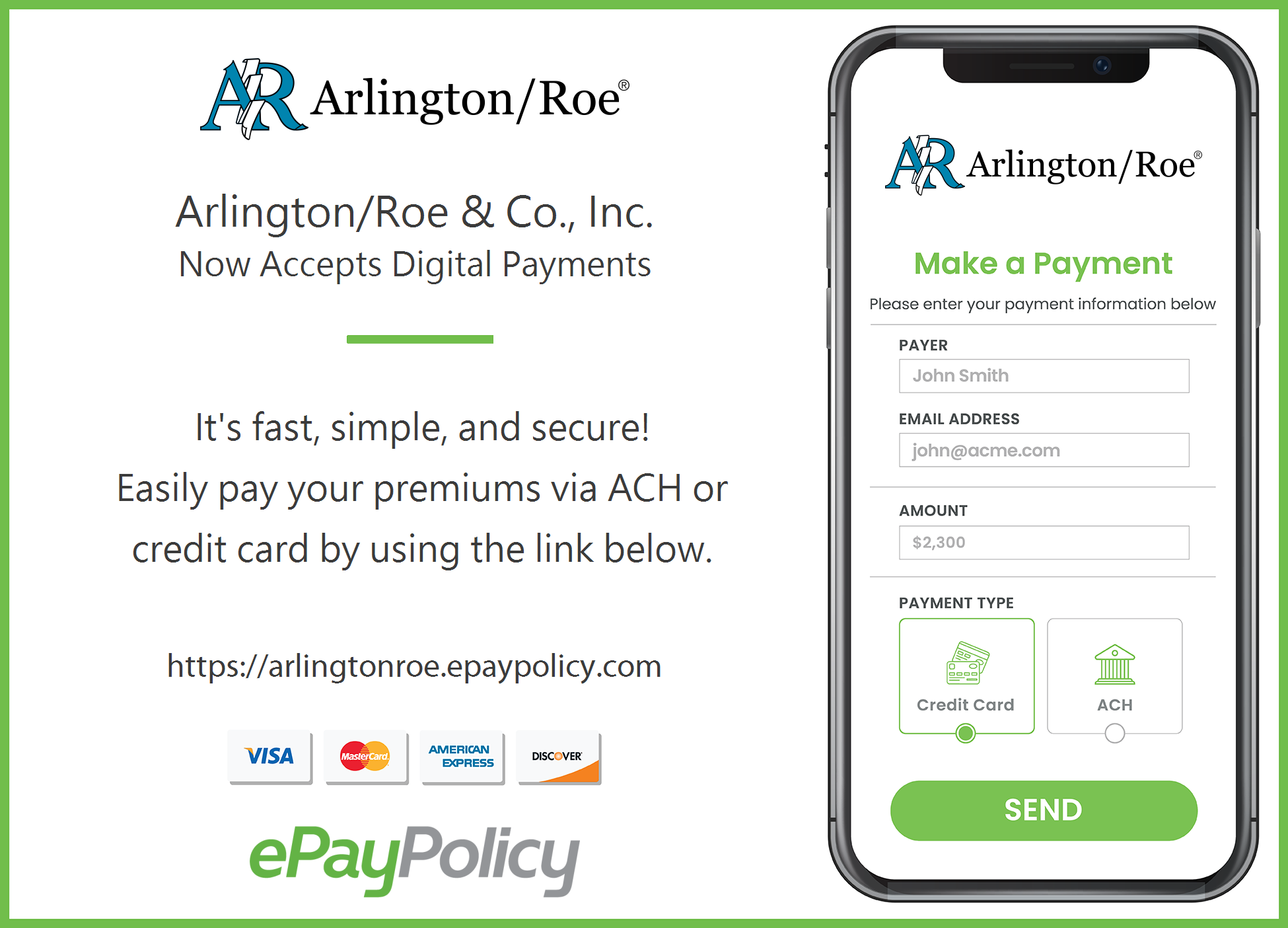 image of Arlington/Roe payment system on a smart phone