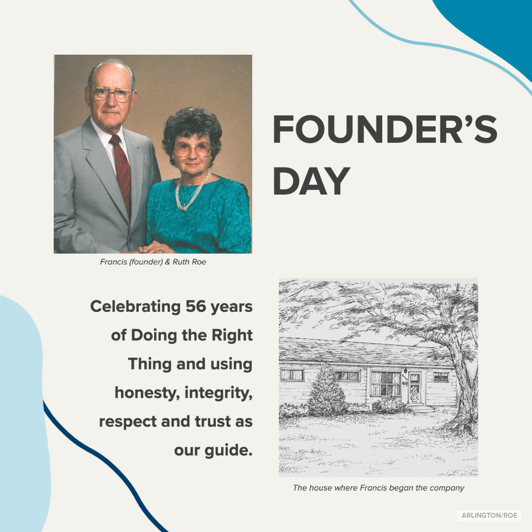 graphic with two people smiling at the camera and a picture of the original Arlington/Roe office with text about Founder's Day
