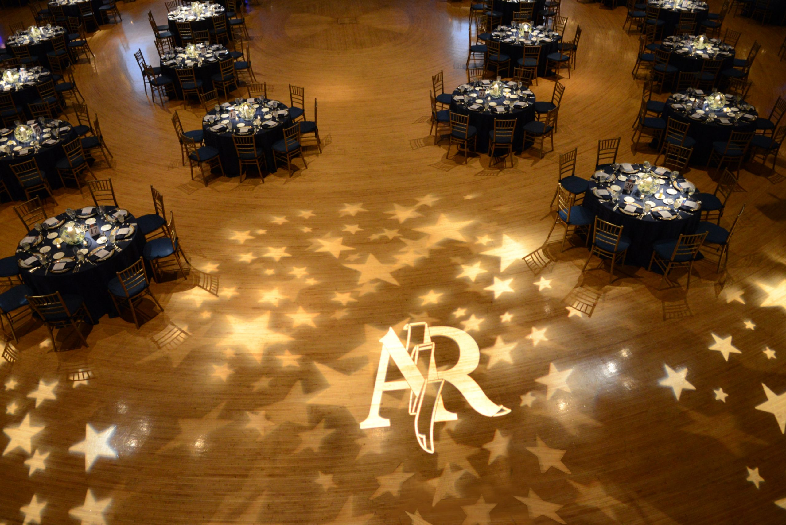 image of an empty room decorated for a 50th anniversary
