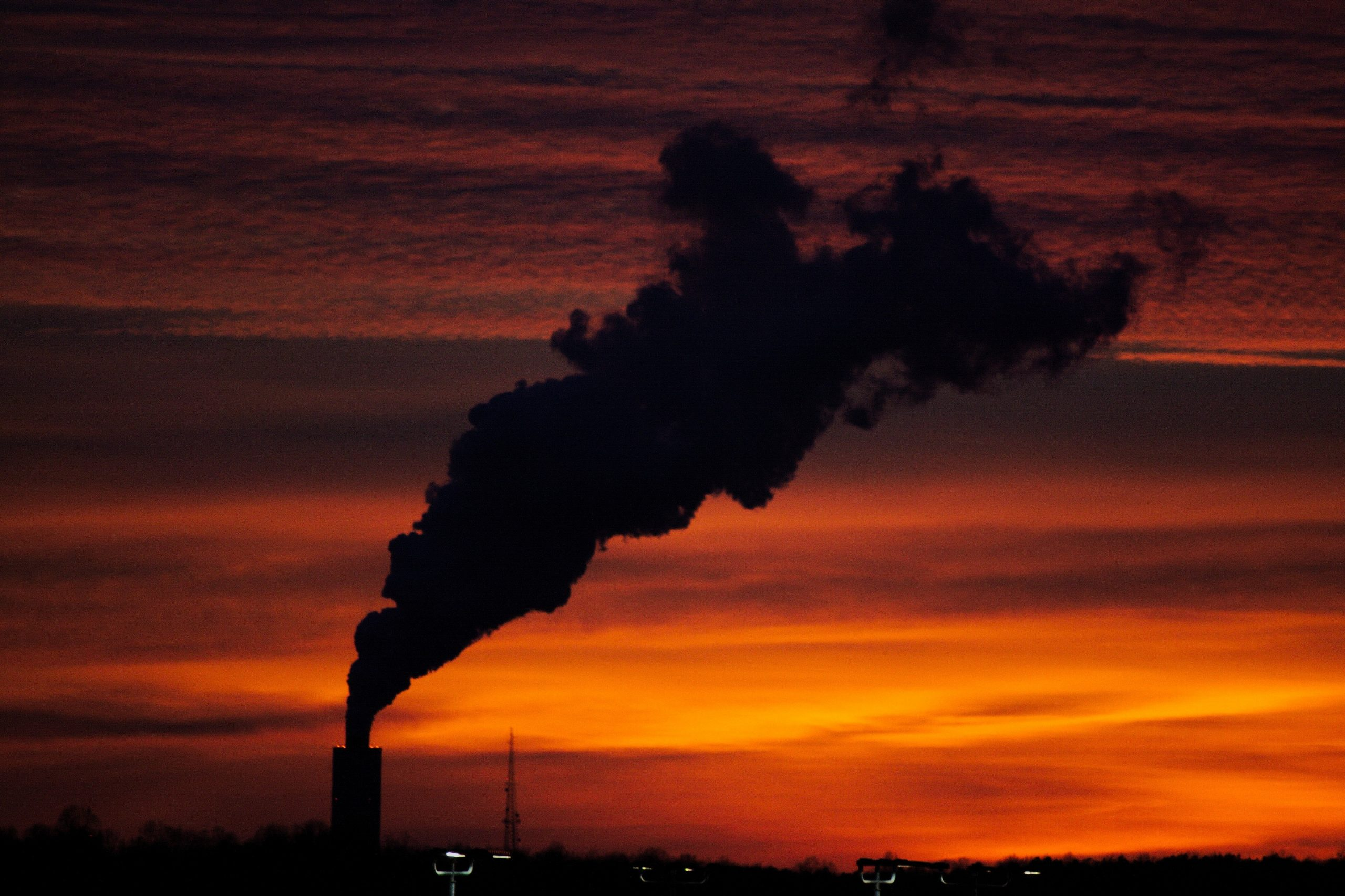 pollution against a red sunset