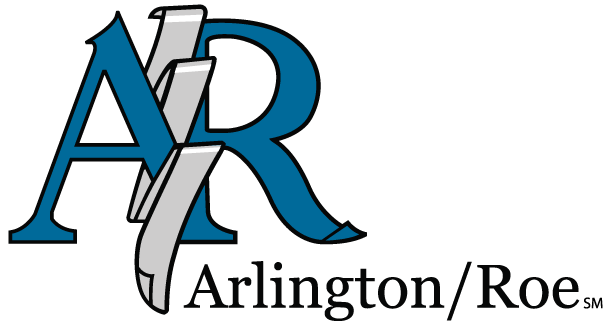 image of Arlington/Roe's first logo with a blue AR and a ribbon in the middle